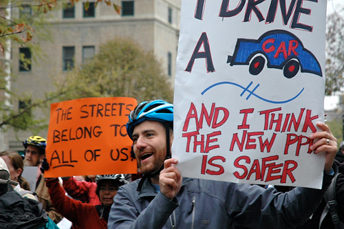 Prospect Park West bicycle lane protest