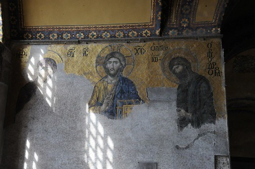 Mary, Jesus, and John, in mosaics, though not all there