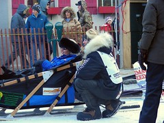 Kristy Beringon (bib #7) before the start of Iditarod 2011