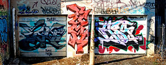 Untitled-8 (collations) Tags: toronto ontario architecture graffiti documentary panoramas tags stitches vernacular rons buck tagging laneways alleys lanes garages esq alleyways builtenvironment vernaculararchitecture hsa urbanfabric graffitiwalls