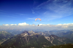 Hang-glider seen from Zugspitze (Larsfl) Tags: germany landscape paragliding zugspitze