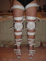 Front View of the Leg Braces with Kneepads Buckled in Place (KAFOmaker) Tags: feet leather fetish foot high control legs braces lock sandals steel leg wrapped encased bondage device strap torso heel elk straight tight bound buckle locked brace restricted sandal joint buckles chained immobilized restraint restriction polio laced kafo restrained encase orthopedic imprisoned strapped heeled braced restrict buckled encircled immobilize tightly kneepad tlso tlso1