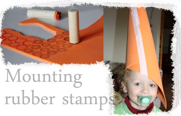 Mounting rubber stamps