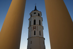 Vilnius Clock Tower between 2 pillars