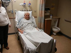 Dad ready to be wheeled off to surgery