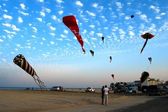 Kites at Messila (kimprint) Tags: sky kite beach clouds landscape flying sand ray stingray flag cumulus kuwait puffy messila