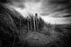 Snowdonia [7] (peachyboii) Tags: blackandwhite beach grass wales clouds canon fence landscape photography eos wooden sand moody ominous dunes deep snowdonia depressing lightroom anglesey sigma1020mm marram newborough 40d