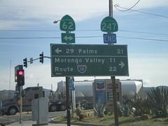 End CA-247 South at CA-62 (sagebrushgis) Tags: california sign junction intersection shield yuccavalley biggreensign ca247 ca62 californiastatehighway