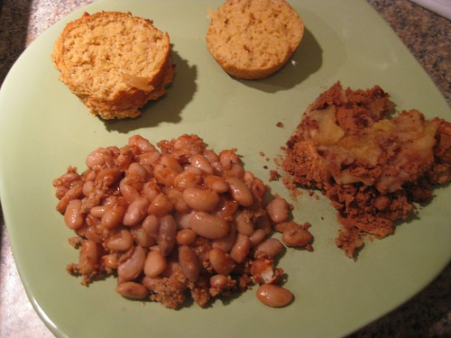 Beans, apples, cornbread