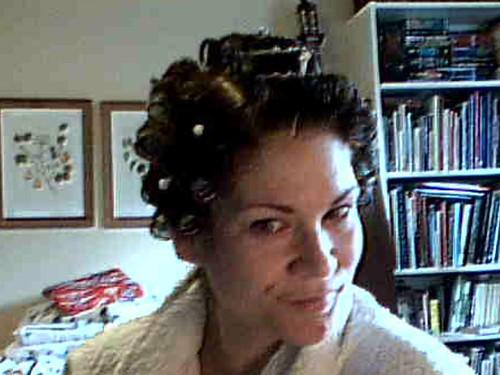 Hair, in curlers