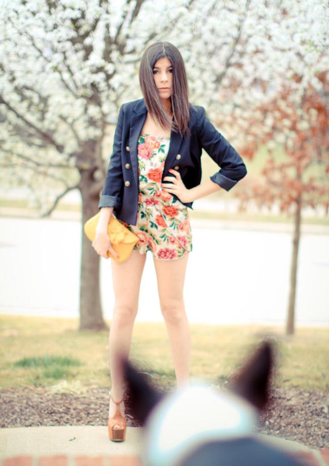 Kimchi Blue Romper, Urban Outfitters, H&M blazer, Jessica Simpson Dany platforms