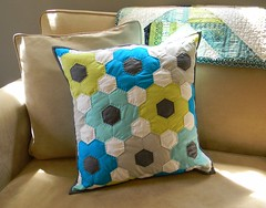Solid Hexagon Pillow (teaginny) Tags: pillow solids hexagon quilted kona paperpieced handquilting