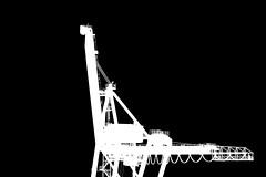 Does it look like a bird? (Jochanas) Tags: bw detail tower lines silhouette metal dark harbor blackwhite crane cable sharp 7d lonely invert towercrane tamron18270