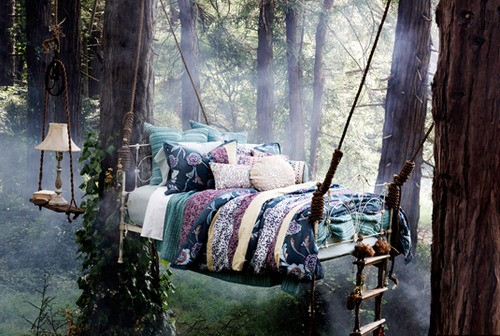 beds outside, outdoor bedroom, beds, romantic beds, boho bed, gypsy bed, bedding, pillows, bed hanging from trees, enchanted beds, 5002893_93AJE0pB_c