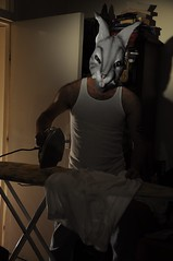 Domesticated (miserablespice) Tags: pets white house rabbit animal animals work grey march spring iron hare mask gray working housework tanktop latex vest mad slavery chores ironing housebound