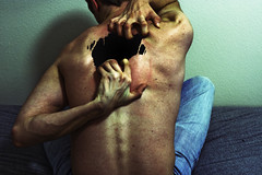 Full of Fear (marklauman) Tags: man black skin fear nothing tear scratch