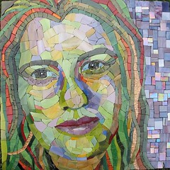 Marnina (Ginny Sher) Tags: portrait color green art face mouth hair eyes skin mosaic stainedglass lips shading