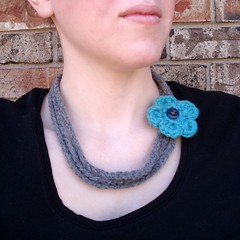 Fiber Necklace and Headband (picksomeflowers) Tags: spring handmade turquoise gray etsy headband headwrap customize crochetflower crochetnecklace fibernecklace picksomeflowers 3threestrand daraneuwirth