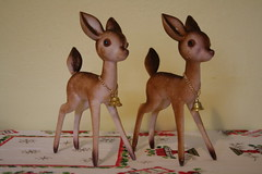 Pair of Vintage Flocked Deer (honor) Tags: christmas winter holiday vintage reindeer kitsch deer plastic kitschy flocked etsyveg