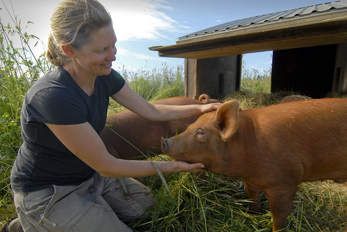 April Jones also raises Tamworth heritage hogs as part of her operation, providing four acres of pasture for a breed she describes as being hearty and having a good personality. The rust color of the breed's skin makes them less prone to sunburn, which is an important characteristic for pastured hogs, she says.