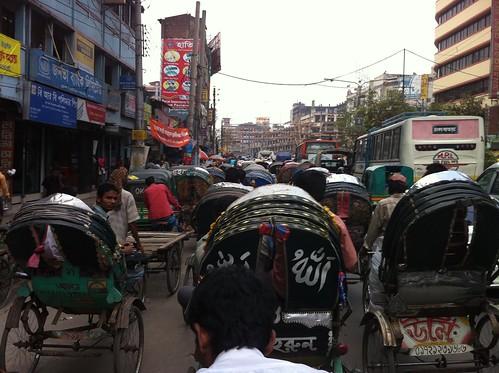 Rickshaw umferðarteppa í Dhaka