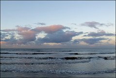 sunset coloring the sea 4 (Elly Snel) Tags: ameland island nl zonsondergang sunset wolken clouds sea zee golven waves blauw blue