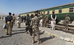 A train was a series of bomb attacks in Pakistan killed at least 6 (leonchenx2) Tags: blast bombblast pakistan railwaytrack repair terrorism train workers quetta pak