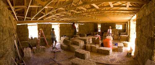 Construction of the straw bale home in Moab, Utah.