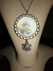 For sale on Etsy @ shadowfairyqueen (shadowfairyqueen) Tags: skull photo necklace bottle ship ghost tags jewelry cap pirate schooner renaissance crossbones pendant steampunk darknoir