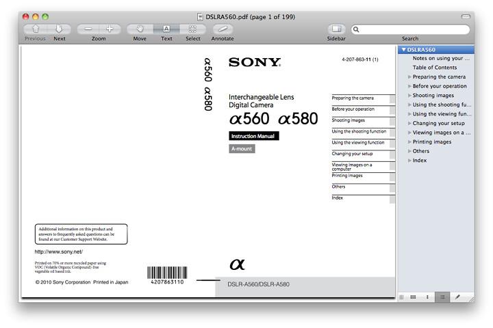 Sony A580 Manual