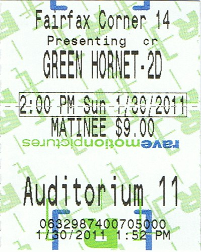 Original Green Hornet. Green Hornet ticketstub