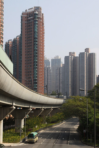 Curving viaduct among the towers