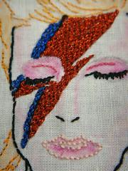 Phat Quarter Music Swap - Aladdin Sane - WIP 8 (Salvaged Mutiny) Tags: music embroidery sewing stitching glamrock davidbowie fibre aladdinsane mrxstitch phatquarter