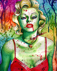 Marilyn Monroe Zombie Doll (Caressa_sparkle) Tags: woman art up rose wall tattoo watercolor painting de dead skull los rainbow colorful punk artist pin day heart zombie marilynmonroe flash fine dia sugar sacred horror muertos prints facepaint carissa pinup