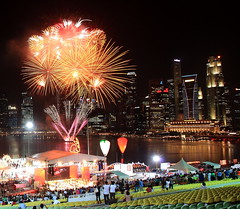 Chinese New Year Fireworks 2011 (Mel Mijares) Tags: new lake marina canon google flyer singapore exposure fireworks year chinese boom entertainment esplanade 5d fullerton lunar merlion singapura mbs yearoftherabbit lobe hongbaoriver singaporechinesenewyear2011