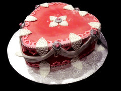 Birthday Valentine cake 3 (Cake Rhapsody) Tags: pink red white cake silver hearts heart lace valentine sparkle valentines edible gem valentinesday jewel broach fondant royalicing isomalt lusterdust barbaranngarrard