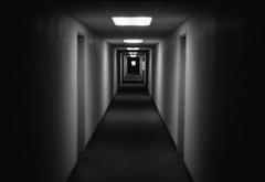 Hallway (Daniel Regner) Tags: camera old white black film analog 35mm vintage lens photography 50mm december kodak tmax daniel maryland olympus series 100 manual
