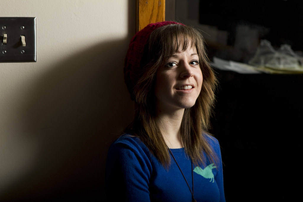 Lindsey Stirling up against a wall