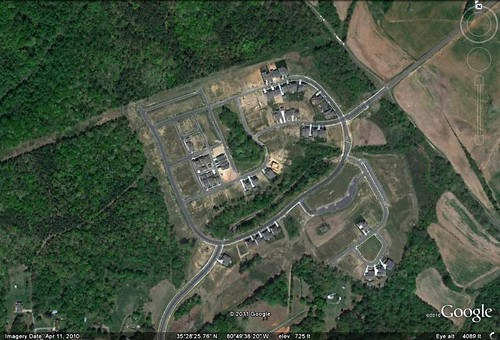 a new leapfrog subdivision in Mecklenburg County outside Charlotte (via Google Earth)