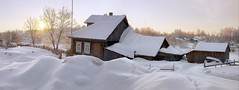 (dSavin) Tags: winter panorama sunrise russia handmade trace panoramic shadowing  2011 russianvillage   peacefulmorning russianway simplearchitecture