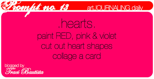 artJOURNALING daily prompt: hearts