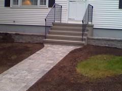 Stucco steps with wall and walkway