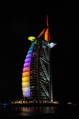 Rainbowcolours of the Burj Al Arab (Digi-Jo) Tags: night hotel evening dubai nacht united uae emirates arab burjalarab avond luxury 7star jumeirah dhow persiangulf tomwright towerofthearabs specialarchitecture nikond700 nikon1424 perzischegolf torenvandearabieren arabischetoren
