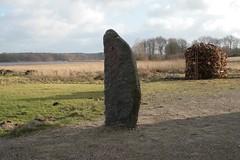Runenstein und Holzstapel bei den Häuser - Wikinger Museum Haithabu WHH 08-02-2011