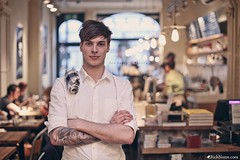 Ben Drury  Barista (Rick Nunn) Tags: wood light portrait people music male london coffee shop tattoo bulb bar dof counter natural notes tables coventgarden tones ef50mmf14usm vsortpop