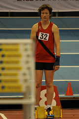 Trudi Carter. Senior Women's 60m.  MCAA Championships, Day 2. (Stanthefan) Tags: england field sport horizontal athletics jump birmingham track action run sprint twopeople westmidlands oneperson hurdle gbr threepeople
