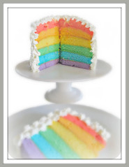 rainbow cake sliced wide open (Pinks & Needles (used to be Gigi & Big Red)) Tags: cake rainbow peace pudding whippedcream sugar explore layers vanilla 441 equality breakfastofchampions moist decadent makelovenotwar sugarhigh rainbowcake rainbowy nofrosting