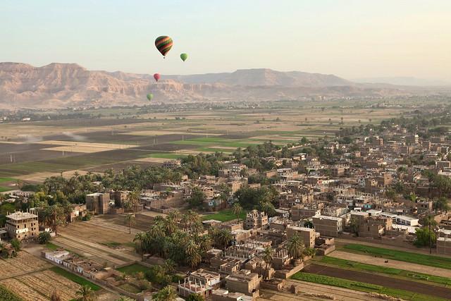 エジプト旅行 気球から見たルクソール西岸