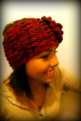 side view of earwarmer with flower (backporchmoon) Tags: crochet headband earwarmerpicnikfebruaryiv