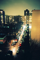 Friedrichshain Apartments (Cormac Phelan) Tags: city berlin film skyline night 35mm germany lomo lca xpro lomography crossprocessed apartment lka friedrichshain phelan cormac